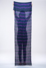 LINEN TIGER PAREO IN BLACK TEAL & VIOLET C 100% LINEN, HAND TIE-DYED