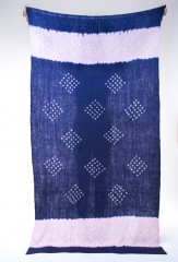 7 DIAMOND LINE SHAWL IN DENIM, CARRARA & IVORY 100% CASHMERE, HAND TIE DYED