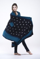 SHADED SUNSPOT SHAWL IN DARK NAVY, TEAL & IVORY 100% WOOL, HAND TIE DYED