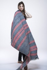 HYBRID ATLAS EXTRAVAGANZA THROW IN DARK NAVY, CHAY & IVORY 100% CASHMERE, YARN DYED