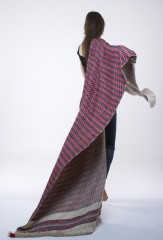 DIAMOND STRIPES SHAWL IN DARK NAVY, CHAY, SKY & IVORY  100% CASHMERE, YARN DYED