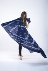 SCROLL SHAWL IN MEDIUM NAVY   100% LINEN, HAND TIE DYED
