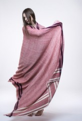 SUNDERJI DIAMONDS WITH BORDER STRIPES THROW                               60% WOOL/40% CASHMERE, YARN DYED