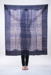 SILK SHIBORI MINI DIAMONDS SQUARE IN DARK NAVY & IVORY  100% SILK, HAND DYED