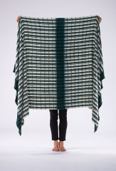 MALI YARN DYED & HAND PAINTED STRIPES THROW IN DARK GREEN & IVORY   100% CASHMERE, YARN DYED, HAND PAINTED