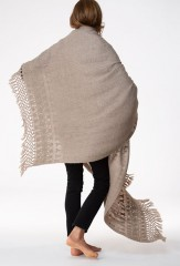 BENAKI BORDER SHAWL IN NATURAL BROWN 100% CASHMERE, HAND EMBROIDERED