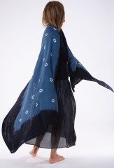 SHADED SUNSPOT SHAWL IN DARK NAVY, NIGHT SKY & IVORY  100% CASHMERE, HAND TIE DYED ARAN GANSEY IN PIRATE 100% CASHMERE