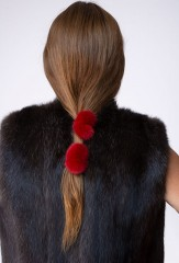 MINK HAIR TIES IN CHAY DYED MINK KOSTROMA GILET IN NATURAL BARGUZIN SABLE